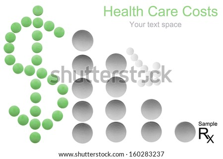 Health care cost concept with copyspace - money sign, arrow and bar chart made of medicine pills shows decreasing costs - stock photo