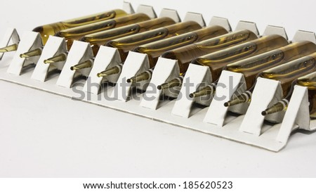 Health care: isolated set of ampules in white background (liver medicine) - stock photo