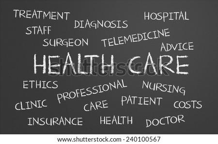 Health Care word cloud written on a chalkboard - stock photo