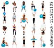Health concept collage. Its time to workouts and stay fit. - stock photo