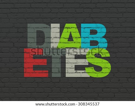 Health concept: Diabetes on wall background - stock photo