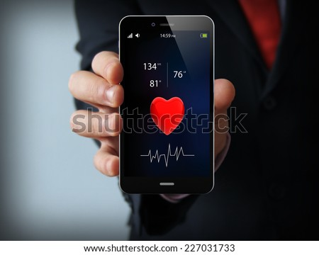 health concept: health app on touchscreen smartphone - stock photo