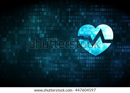 Health concept: pixelated Heart icon on digital background, empty copyspace for card, text, advertising - stock photo