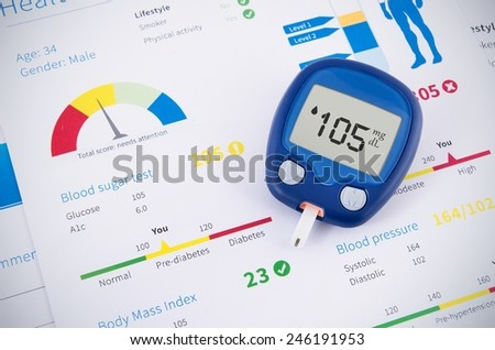 Health examination. Glucometer and test for diabetes - stock photo