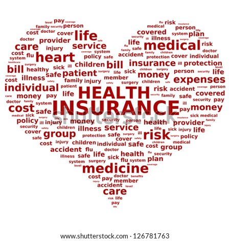 Health insurance concept. Tag cloud. - stock photo
