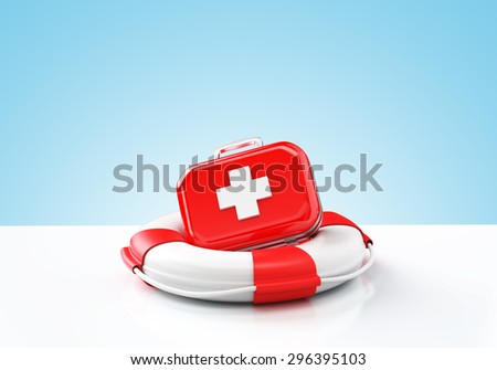 Health insurance , First aid kit in lifebuoy , Blue background , 3d render - stock photo