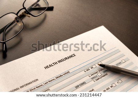 Health insurance form - stock photo