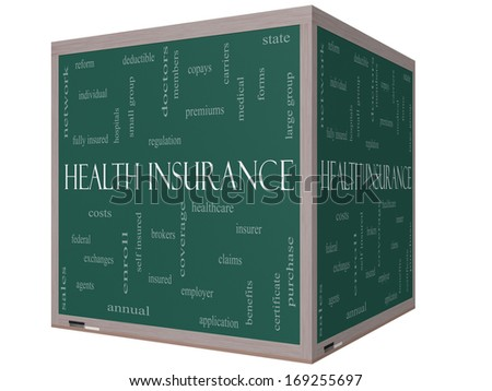 Health Insurance Word Cloud Concept on a 3D cube Blackboard with great terms such as healthcare, reform, enroll, claims and more. - stock photo
