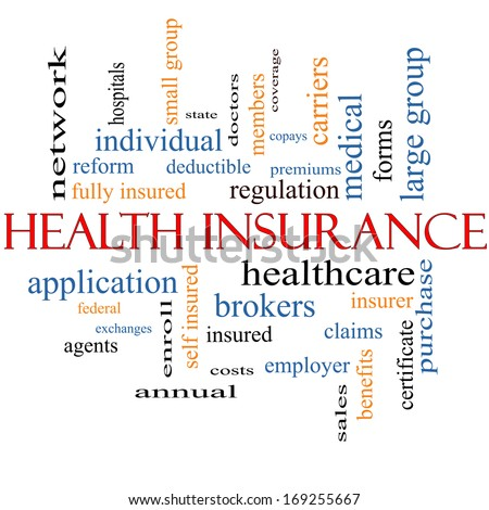 Health Insurance Word Cloud Concept with great terms such as healthcare, reform, enroll, claims and more. - stock photo