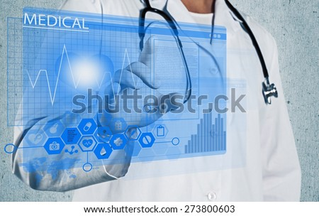 Health. Medicine doctor hand working with modern computer interface - stock photo