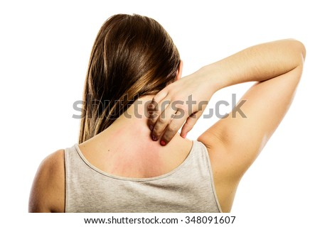 Health problem. Young woman scratching her itchy back with allergy rash isolated on white - stock photo