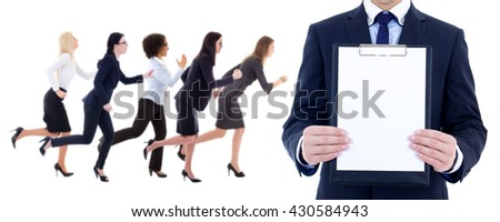 health resource concept - side view of running business women and man with blank clipboard isolated on white background - stock photo