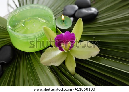 health spa and green palm  - stock photo