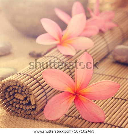 Health spa setting, low light with ambient. Frangipani, hot and cold stone on bamboo mat in vintage retro style. - stock photo