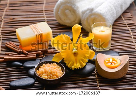 health spa setting on bamboo mat - stock photo
