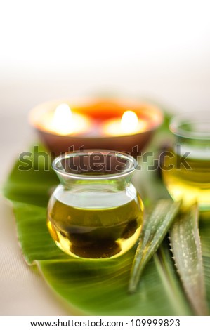 Health spa, two bottles of essential oil with of fresh aloe vera on banana leaf.  [Focus at the oil bottle] - stock photo