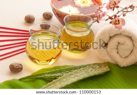 Health spa, two bottles of essential oil with of fresh aloe vera, towels, candle, incense, one with orchid flowers. - stock photo