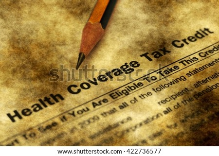 Health tax credit form grunge concept - stock photo
