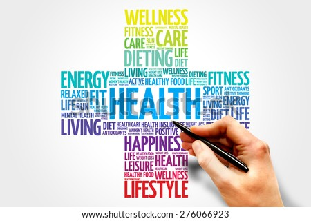 Health word cloud, health cross concept - stock photo