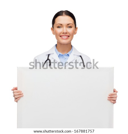 healthcare, advertisement and medicine concept - smiling female doctor with stethoscope with white blank board - stock photo