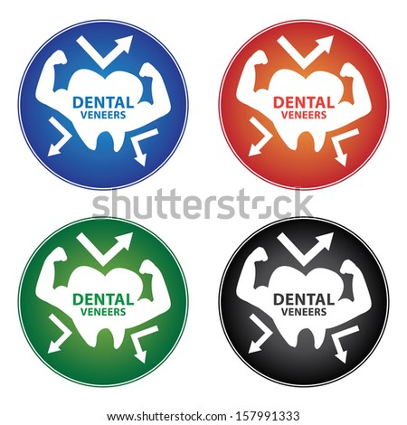 Healthcare and Medical Concept Present By Colorful Dental Veneers Icon Isolated on White Background  - stock photo
