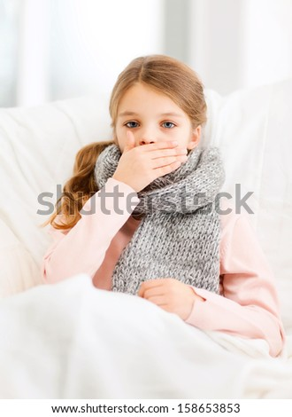 healthcare and medicine concept - ill girl with flu at home - stock photo