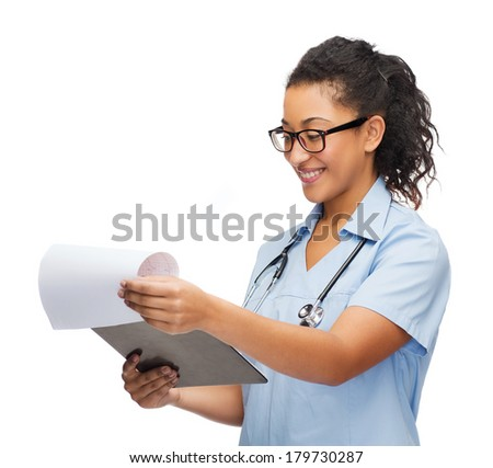 healthcare and medicine concept - smiling female african american doctor or nurse in eyeglasses with stethoscope and clipboard - stock photo