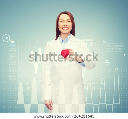 healthcare and medicine concept - smiling female doctor with heart - stock photo