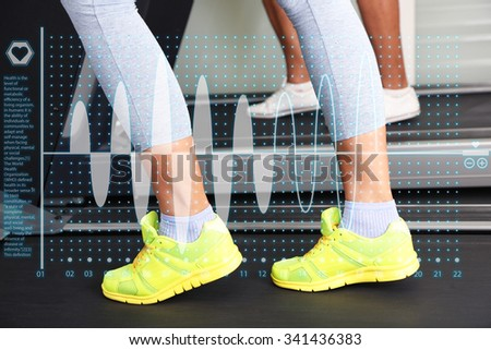 Healthcare and medicine concept. Women and men feet on treadmill close-up - stock photo