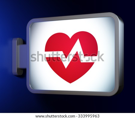 Healthcare concept: Heart on advertising billboard background, 3d render - stock photo