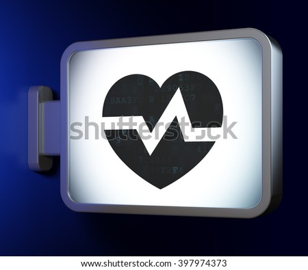 Healthcare concept: Heart on advertising billboard background, 3d rendering - stock photo