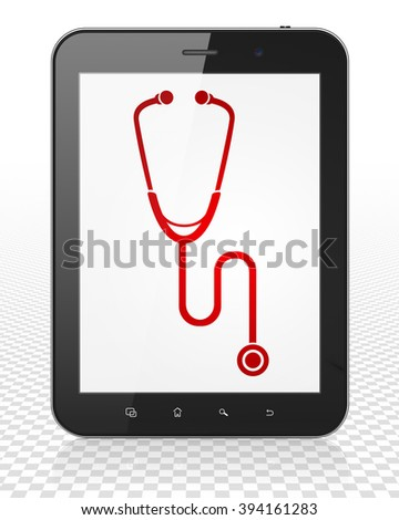 Healthcare concept: Tablet Pc Computer with Stethoscope on display - stock photo