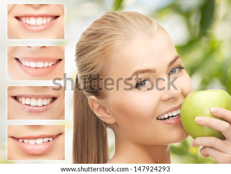healthcare, medical and stomatology concept - female with apple and smiles - stock photo