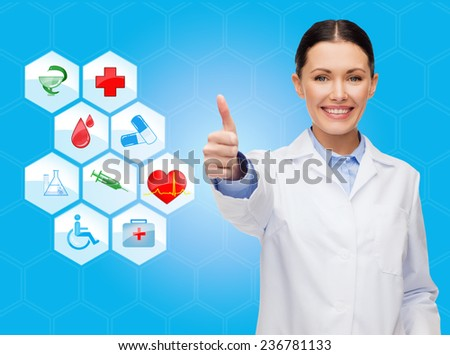 healthcare, medicine, people, gesture and symbols concept - smiling young female doctor or nurse showing thumbs up over medical icons and blue background - stock photo