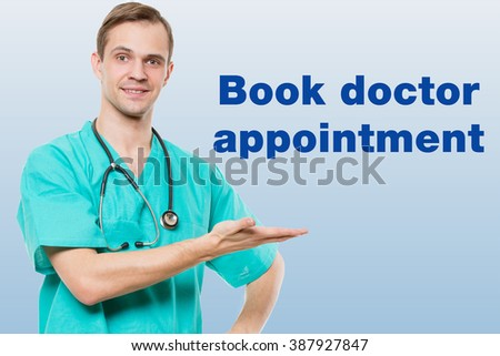 healthcare, profession, symbols, people and medicine concept - smiling male doctor  in coat over blue background with medical icons.  - stock photo