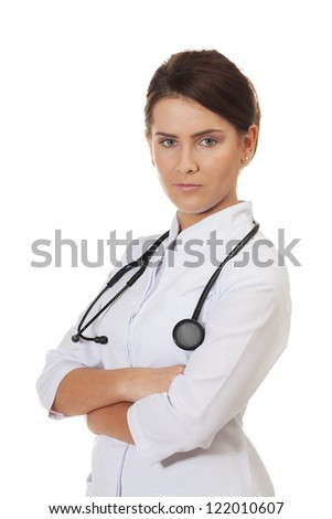 Healthcare professional on isolated white - stock photo