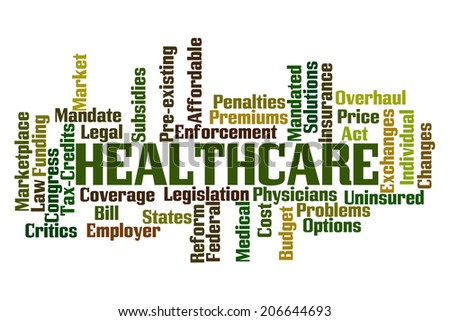 Healthcare Word Cloud on White Background - stock photo