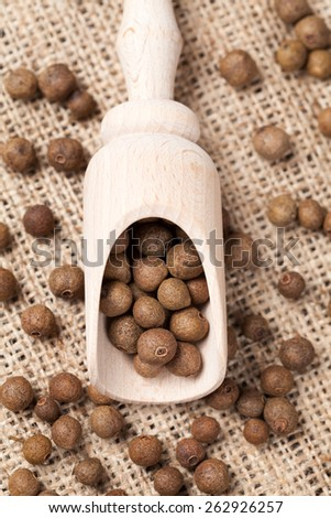 Healthy allspice pepper flavour spice seeds ingredient in wooden spoon on textile background. Top view. - stock photo