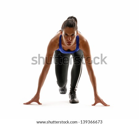 Healthy and fitness woman running on white background. - stock photo