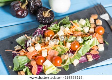 Healthy and fresh Mediterranean salad - stock photo