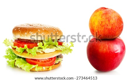 Healthy and unhealthy food. - stock photo