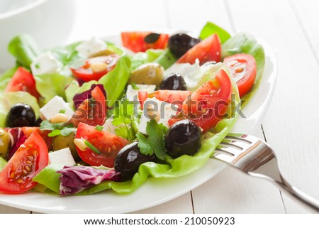 Healthy appetizing Mediterranean salad with fresh tomato, olives, feta cheese, herbs and lettuce, close up view on a plate - stock photo