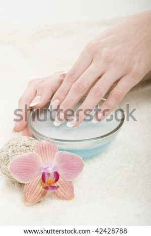 Healthy beautiful hands with soft skin and perfect french manicure on shirt nails. bowl of water and flower as a decoration - stock photo