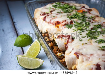 Healthy beef and corn enchiladas - stock photo