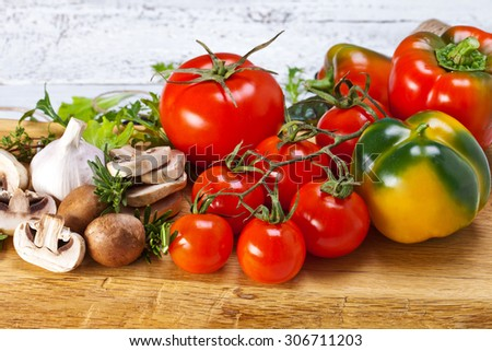 Healthy Bio Vegetables on a Wooden Background - stock photo
