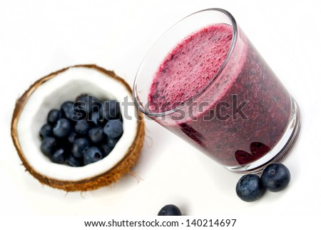 healthy blueberry smoothie isolated on white background - stock photo