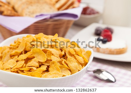 Healthy breakfast cereal - stock photo