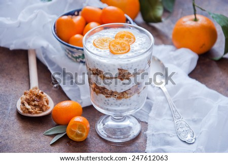 Healthy breakfast - Chia Seed Pudding with kumquats and granola - stock photo