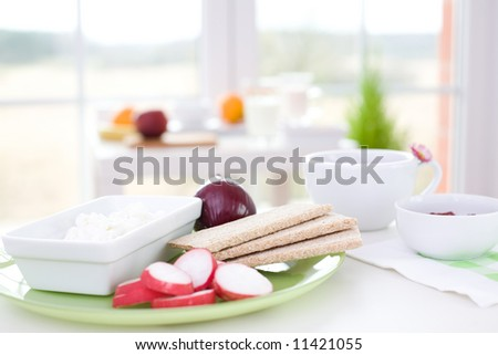 Healthy breakfast / Cottage cheese, radish, red onion and crack bread - stock photo