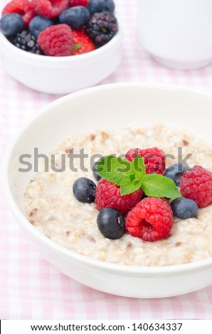 healthy breakfast - oatmeal with fresh berries, a bowl of berries in the background closeup - stock photo